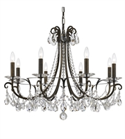 "Picture for category Chandeliers 8 Light Fixtures With English Bronze Finish Steel and Crystal Material Candelabra 31"" 480 Watts"