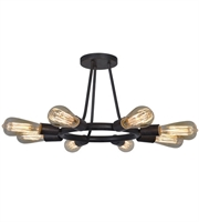 "Picture for category Semi Flush 8 Light Fixtures With Charcoal Bronze Finish Wrought Iron Material Medium 15"" 480 Watts"