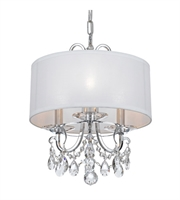 "Picture for category Mini Chandeliers 3 Light Fixtures With Polished Chrome Finish Steel and Crystal Material Candelabra 15"" 180 Watts"