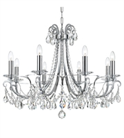 "Picture for category Chandeliers 8 Light Fixtures With Polished Chrome Finish Steel and Crystal Material Candelabra 31"" 480 Watts"