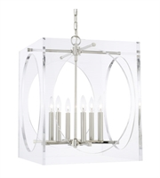 "Picture for category Chandeliers 6 Light Fixtures With Polished Nickel Finish Steel Material Candelabra 19"" 360 Watts"