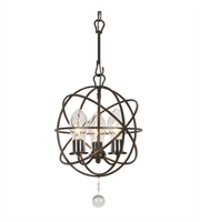 "Picture for category Outdoor Pendant 3 Light Fixtures With English Bronze Finish Wrought Iron Material Candelabra 12"" 120 Watts"