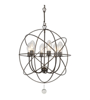 "Picture for category Outdoor Pendant 6 Light Fixtures With English Bronze Finish Wrought Iron Material Candelabra 23"" 240 Watts"