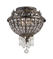 "Picture for category Semi Flush 3 Light Fixtures With English Bronze Finish Wrought Iron Material Candelabra 11"" 180 Watts"