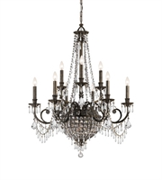 "Picture for category Chandeliers 12 Light Fixtures With English Bronze Finish Wrought Iron Material Candelabra 34"" 720 Watts"