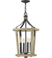 Picture for category Pendants 4 Light With Cottage Whitewash Finish Wood and Steel Material Candelabra Base 15 inch 240 Watts