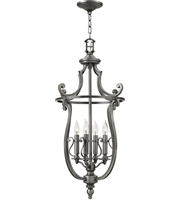 "Picture for category Polished Antique Nickel Tone Pendants 18"" Wide Metal Candelabra 4 Light Fixture"