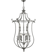 "Picture for category Polished Antique Nickel Tone Chandeliers 31"" Wide Metal Candelabra 9 Light Fixture"