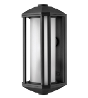 Picture for category Wall Sconces 1 Light With Black Ribbed Etched Cylinder Cast Aluminum LESM-100 15 inch 15 Watts