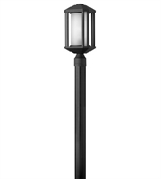 Picture for category Outdoor Post 1 Light With Black Ribbed Etched Cylinder Cast Aluminum LESM-100 17 inch 15 Watts