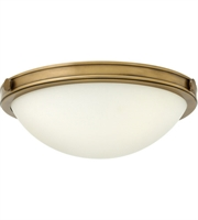 "Picture for category Heritage Brass Tone Finished Flush Mounts 14"" Wide Steel Medium 2 Light Fixture"