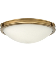 "Picture for category Heritage Brass Tone Finished Flush Mounts 19"" Wide Steel Medium 3 Light Fixture"