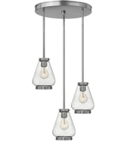 Picture for category Pendants 3 Light With Brushed Nickel Finish Steel Medium Base 17 inch 300 Watts