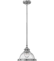 Picture for category Mini Pendants 1 Light With Chrome Clear Seedy Steel Drum Medium Base 12 inch 100 Watts