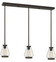 "Picture for category Pendants 3 Light Fixtures With Oil Rubbed Bronze Finish Steel Material Medium 36"" 300 Watts"