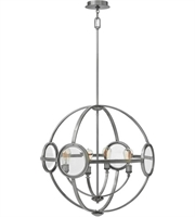 "Picture for category Polished Antique Nickel Tone Finish Chandeliers 26"" Wide Steel Medium 4 Light Fixture"
