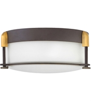 "Picture for category Flush Mounts 2 Light Fixtures With Oil Rubbed Bronze Finish Steel Material Medium 13"" 120 Watts"