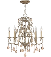 "Picture for category Silver Leaf Tone Finish Pendants 24"" Wide Metal Material Candelabra 5 Light Fixture"