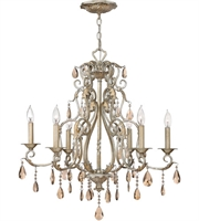"Picture for category Silver Leaf Tone Finish Pendants 28"" Wide Metal Material Candelabra 6 Light Fixture"