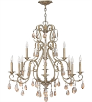 "Picture for category Silver Leaf Tone Finish Pendants 36"" Wide Metal Candelabra Base 12 Light Fixture"