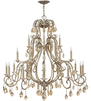 "Picture for category Silver Leaf Tone Finish Pendants 45"" Wide Metal Material Candelabra 21 Light Fixture"
