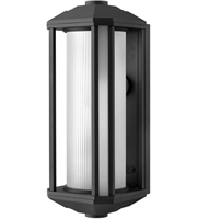Picture for category Wall Sconces 1 Light With Black Ribbed Etched Cylinder Cast Aluminum Medium Base 18 inch 100 Watts