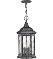 "Picture for category Outdoor Pendant 3 Light Fixtures With Black Granite Finish Cast Aluminum Material Candelabra 9"" 120 Watts"