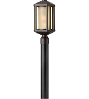 Picture for category Outdoor Post 1 Light With Bronze Ribbed Etched Amber Cylinder Cast Aluminum Medium Base 17 inch 100 Watts