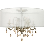 "Picture for category Silver Leaf Tone Finish Semi Flush 24"" Wide Metal Material Candelabra 4 Light Fixture"