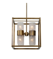 Picture for category Pendants 8 Light With Antique Brass Finish Iron Clear Glass Material 18 inch 480 Watts