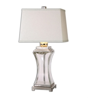Picture for category Table Lamps 1 Light With Polished Nickel Glass Metal Fabric Tapered Rectangle Hardback 29 inch 150 Watts