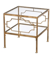 Picture for category Table W/ Finish Gold and Material - Metal and Tempered Glass sizes 19 X 19 inch