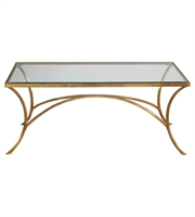 Picture for category Table With Finish Antiqued Gold Leaf and Material - Metal Glass sz 48 X 20 inch
