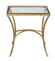 Picture for category Tables W/ Finish Antiqued Gold Leaf and Metal Tempered Glass sizes 22 X 24 inch