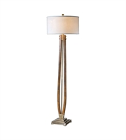 Picture for category Floor Lamps 1 Light With Burnished Wood Iron Linen Rubber Wood Round Hardback Drum 66 inch 150 Watts