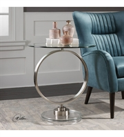 Picture for category Tables W/ Finish Brushed Nickel Plated Iron and Metal and Glass sz 24 X 27 inch