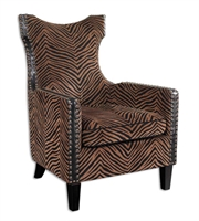Picture for category World of Decor RL-36619 Chairs Plush Golden Brown And Black Stripes Kimoni