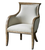 Picture for category Chairs W/ Almond Stained Distressed White Mahogany and Wood Fabric 27 X 37 inch