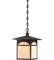 "Picture for category Outdoor Pendant 1 Light Fixtures With Umber Bronze Tone Finish E26 Bulb 9"" 100 Watts"