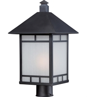 "Picture for category Outdoor Post 1 Light Fixtures With Stone Black Tone Finish E26 Bulb 10"" 100 Watts"