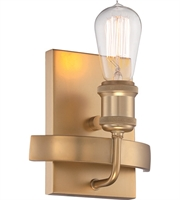 "Picture for category Wall Sconces 1 Light Fixtures With Natural Brass Tone Finish Edison Bulb 7"" 40 Watts"