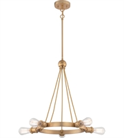 Picture for category Chandeliers 5 Light With Natural Brass Finish Edison Bulb Type 28 inch 200 Watts