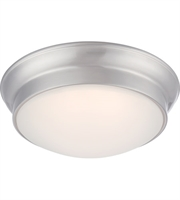 "Picture for category Flush Mounts 1 Light Fixtures With Brushed Nickel Tone Finish Warm Dim Panel LED Bulb 12"" 16 Watts"