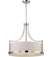 "Picture for category Pendants 4 Light Fixtures With Polished Nickel Finish Metal Glass Material A19 Bulb 24"" 240 Watts"