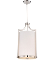 "Picture for category Chandeliers 3 Light Fixtures With Polished Nickel Finish Fabric Material A19 Bulb 14"" 180 Watts"