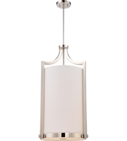 "Picture for category Chandeliers 4 Light Fixtures With Polished Nickel Finish Fabric Material A19 Bulb 17"" 240 Watts"