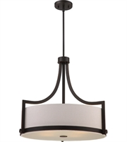 "Picture for category Pendants 4 Light Fixtures With Russet Bronze Finish Fabric Material A19 Bulb 24"" 240 Watts"