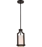 "Picture for category Pendants 1 Light Fixtures With Russet Bronze Finish Metal Glass Material A19 Bulb 7"" 60 Watts"