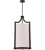"Picture for category Pendants 4 Light Fixtures With Russet Bronze Finish Fabric Material A19 Bulb 17"" 240 Watts"