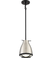 "Picture for category Pendants 1 Light Fixtures With Brushed Nickel with White Accent Tone Finish LED Bulb 7"" 12 Watts"